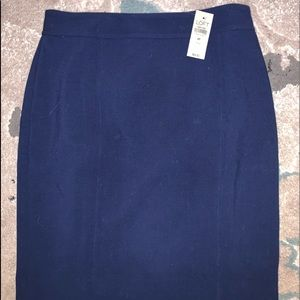 Loft Navy Blue straight pencil lined skirt NWT 6P